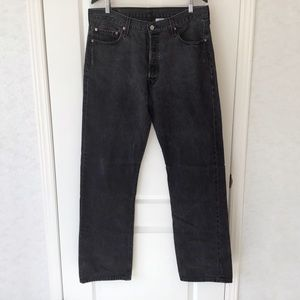 Levi's 501 Button Fly Straight Leg Black Jeans, 36